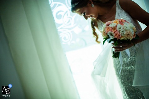 A portrait of the bride and her bouquet at the Villa Ekaterina, Sofia, Bulgaria