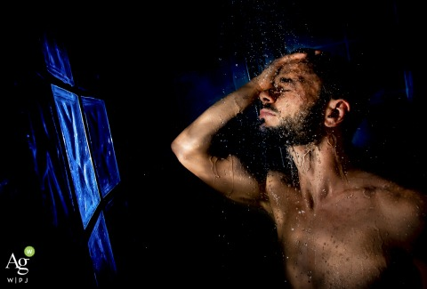 Murcia, Spain fine art wedding portrait image from the The groom shower before the ceremony and events of the day