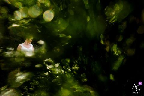 Portrait de mariée de Francfort dans les arbres verts du jardin luxuriant