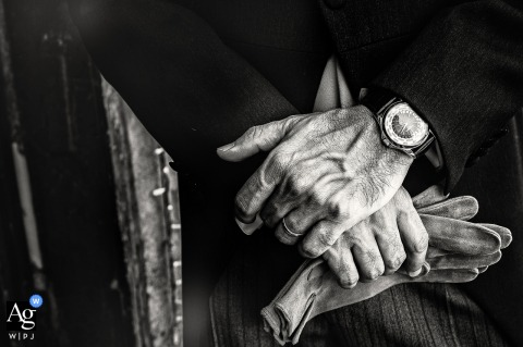 Portofino Hotel Splendido wedding Detail photo of man gloves, hands and watch in black and white