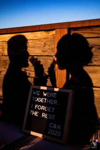 Couple's silhouette with a wedding detail at the Guesthouse Hotel in Chicago