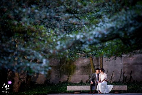 A couple wedding portrait in a city garden at the Art Institute Gardens, Chicago