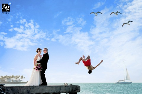 Simonton Public Beach Pier  wedding portrait of the perfect crazy Key West day...bride and groom right in the middle of the magic