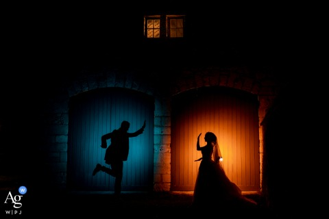Night shot of the bride and groom during dinner at the Château de la Trye, France
