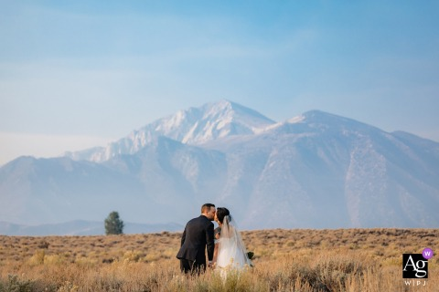 Quick Stop after the ceremony, heading to Reception for a Portrait in Mammoth Lakes, Calfornia