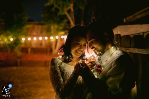 Bride and Groom night Portrait with Jar lights in Antioch, California