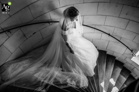 Château de Crazannes, Charente Maritime, France black and white wedding portrait created A few minutes before the first look, as the emotion rises