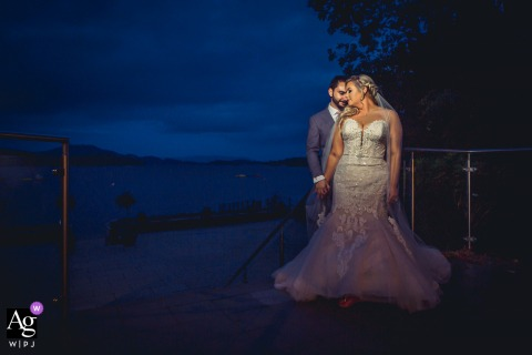 Scottish couple during a night wedding portrait session