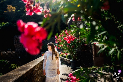 A bridal portrait amongst flowers at the Burg Rheinstein