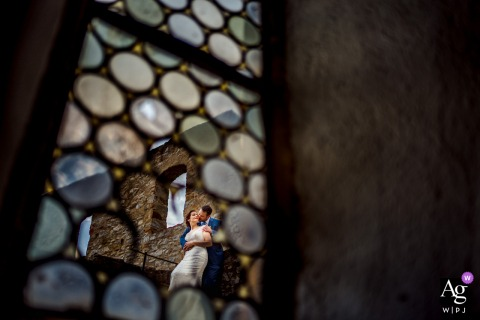 Burg Hornberg bride and groom artistic wedding photo