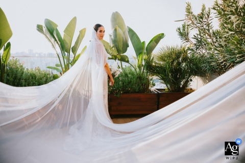 Mersin Divan Hotel Turkey bride portrait with her long veil
