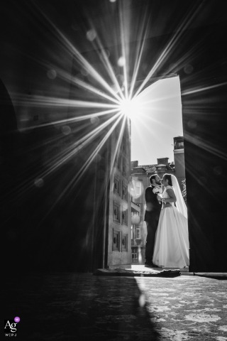 Bulgaria, Sofia, church st. Paraskeva Bride and groom portrait under the bright sun