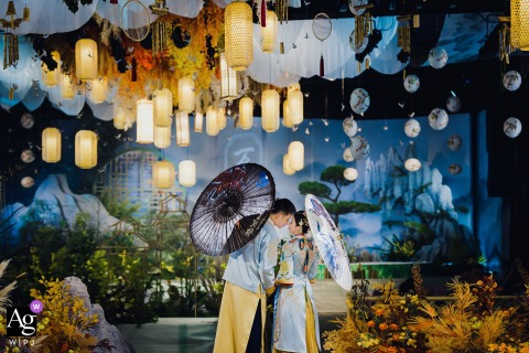 Fujian hotel Portrait of bride and groom in traditional Chinese costume