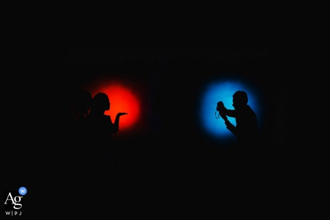 Fujian garage Bride and groom silhouette portrait with red and blue spot lights