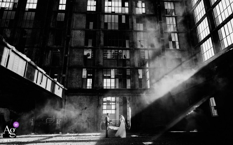 Artistic wedding photo In an old factory	- A wedding shoot in a abandoned factory in Belgium