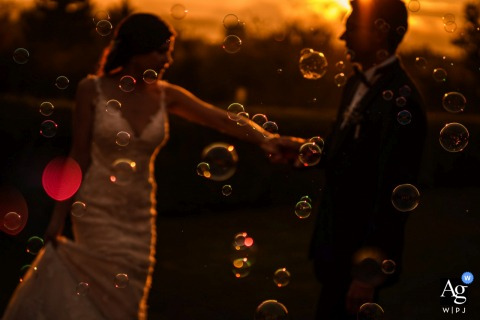 Bulgaria, golf club st. Sofia wedding portrait of the couple with soap bubbles