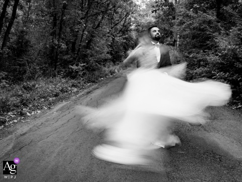 Burgas, Utopia Forest Bride and Groom in slow shutter speed wedding portrait in black and white