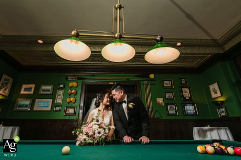 San Jose, California artistic wedding couple portrait for the Bride and Groom in a Pool Hall at the Wedding Venue