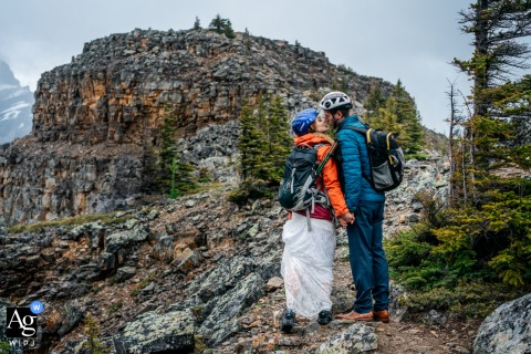 Tower of Babel, Banff National Park couple portrait as they hiked after their elopement to the top of the mountain
