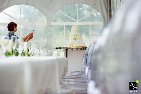 Donnell Lake, Michigan fine art wedding detail photography picture of the wedding cake and a guest taking pictures