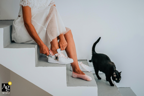 Marseille	Bouches-du-Rhone artistic wedding photo of the sneakers on stairs and a cat