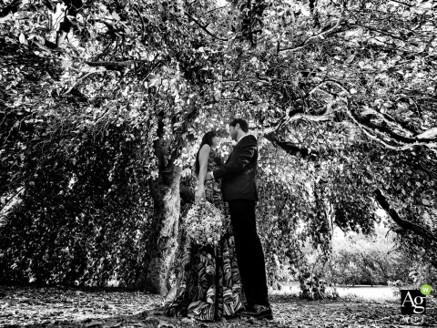Villa Litta Modigliani, Affori, Milano couple posing for a wedding portrait of the newlyweds in a natural tent under the tree canopy