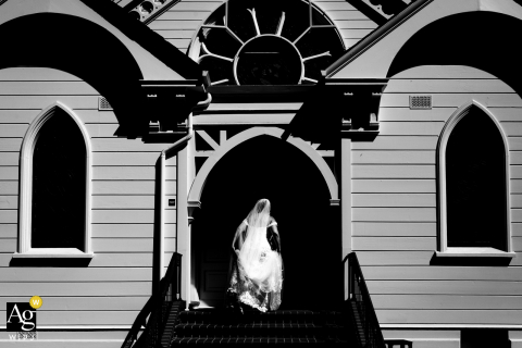 Menlo Park artistic wedding photo with a bride doing the b&w church walk