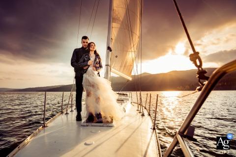 Retrato artístico de barco casal de noivos em Sofia, Bulgária