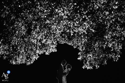 Angulema recepción b & n imagen de boda de la pareja abrazándose bajo un árbol oscuro por la noche