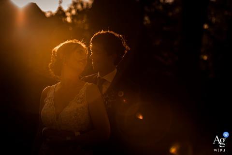 Bovendonk in Hoeven wedding portraitat sunset, with beautiful light