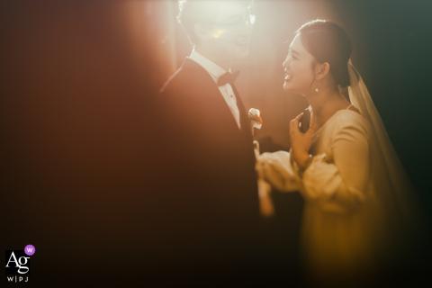 Foto artística de casamento em Huna, China, no Hotel de uma recepção calorosa