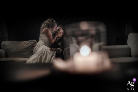 Villa Godi Piovene, Vicenza, Itália artístico Retrato à luz de velas do casal se beijando