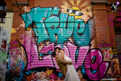 Verbano Cusio Ossola, Piedmont artistic wedding photo with graffiti and True Love
