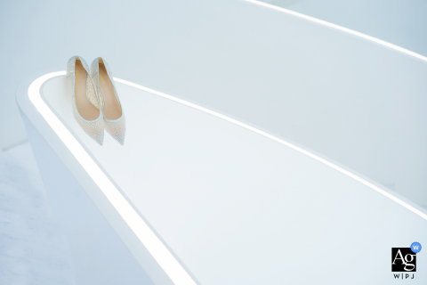 Wenzhou, Zhejiang artistic wedding photo at Home with a white background and white Shoes