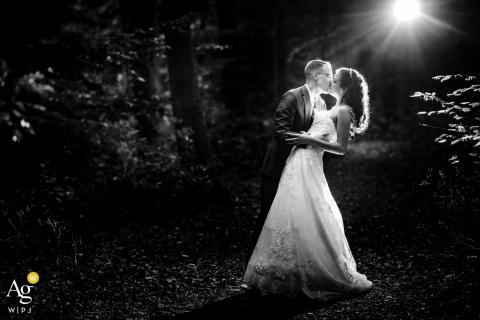 Retrato artístico de casamento de Heuchelberg de um beijo em p & b sob o sol da floresta