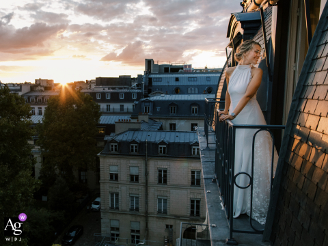 Hotel Ritz Paris artistic wedding photo of a Stunning bride during the sunset