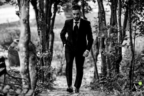 Borgo San Faustino, Orvieto groom during a bw portrait session with the groom in the woods