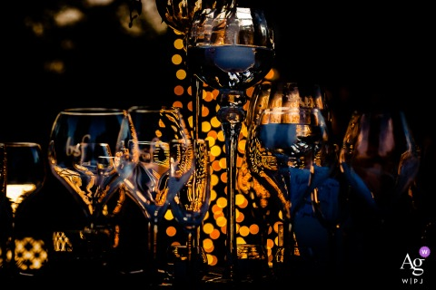 Orvieto wedding detail image of glasses set up on the table at Borgo San Faustino