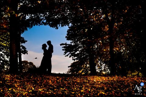 Chicago Retrato de casamento artístico de um casal com a silhueta entre as árvores no Parque Humboldt