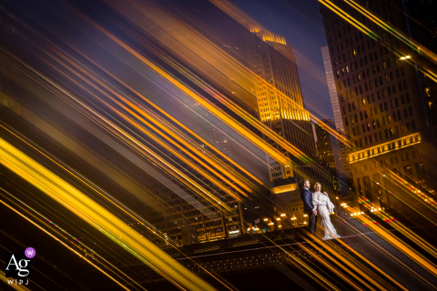 Chicago wedding photographer captured this light-filled portrait on top of a bridge