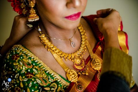 Sri Venkateswara Swami (Balaji) Temple wedding detail of the bride's jewelry in Aurora