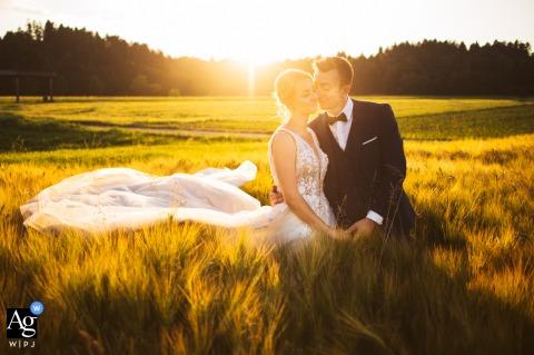 Un photographe de mariage en Slovénie a capturé ce portrait d'un couple debout dans un champ de blé près de Radovljica