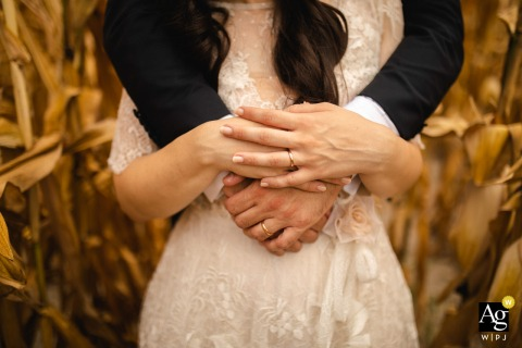 Parco le Cicogne wedding photo of the hands of the bride and groom set in a cornfield