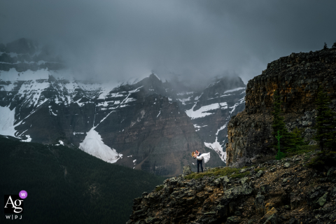 Mountain romance artistic wedding photo from Tower of Babel, Banff National Park, AB, Canada