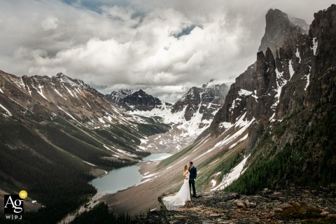 Canada artistic wedding photo from Tower of Babel, Banff National Park, AB showing a Young and wild couple