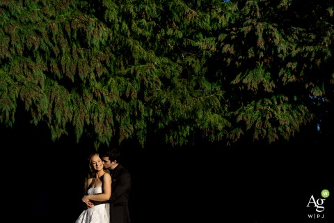 WA wedding portrait at Battleground Church	showing the Bride and groom embrace with each other