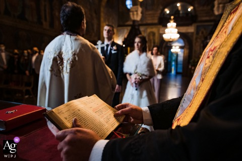 St. Nedelya Church, Sofia creative wedding day image Detail of the bible during the religious indoor ceremony