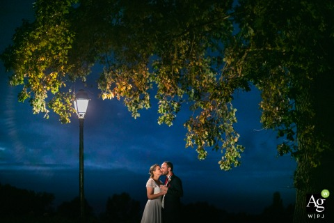 Poitiers bride and groom wedding portrait session at night