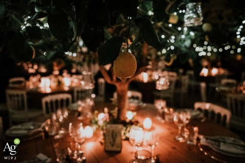 Creative wedding detail image from Roma le 7 Fonti, Italy of the decorations at the reception that the couple did themselves