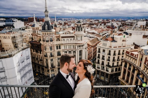Hotel Four Seasons wedding couple posed portrait session on the terrace of the hotel